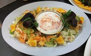 Soured cucumber and mango salad (with harissa yoghurt)